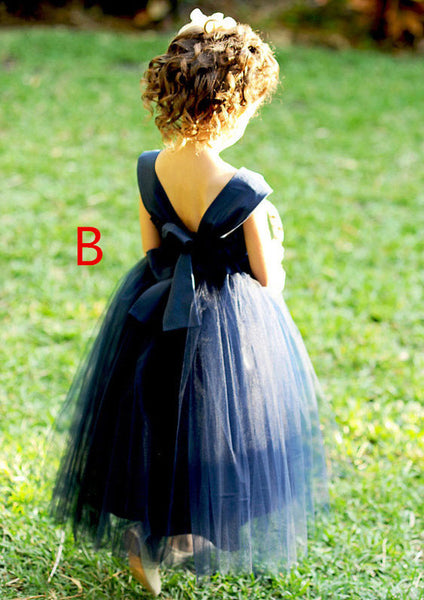A-line Princess Sleeveless Ankle-length Tulle Flower Girl Dresses, FG0144
