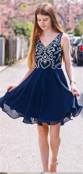 A-Line V-neck Beading Navy Blue Chiffon Homecoming Dresses, HD0528