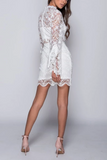 Round Neck Long Sleeves Lace See-though Homecoming Dresses, HD0531