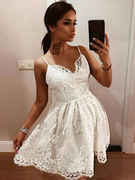 A-line Spaghetti Straps Backless Lace Short Homecoming Dresses, HD0545