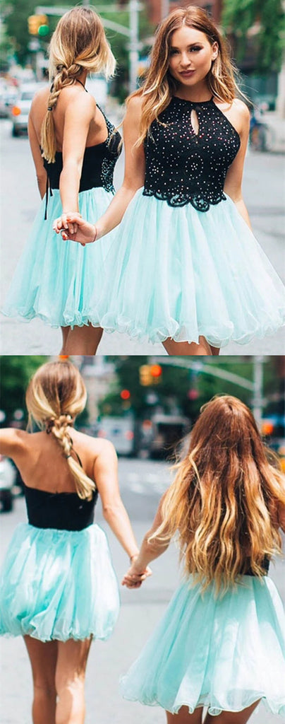 Halter Sleeveless Beading Top Short Tulle Homecoming Dresses, HD0546