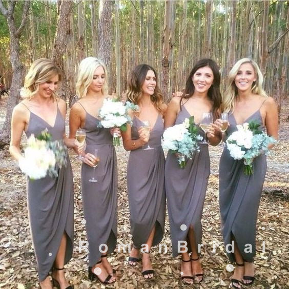 Sheath V-Neck Spaghetti Straps Side Slit Cheap Tea Length Bridesmaid Dresses With Pleats,RBWG0021