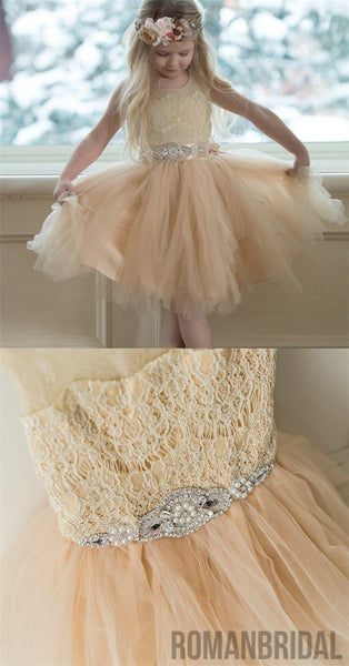 Illusion Lace Top Tulle Flower Girl Dresses, Popular Little Girl Dresses with rhinestone Belt, FG033