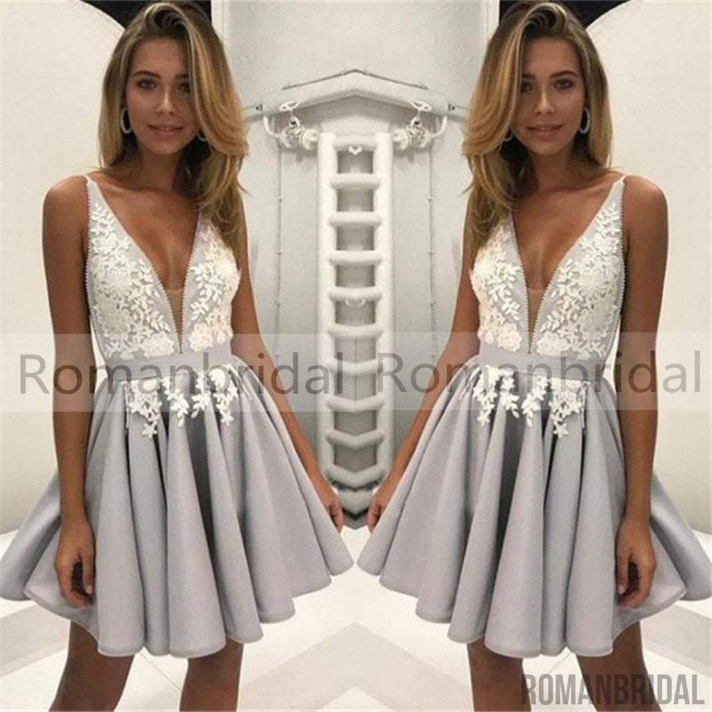 2018 Newest Sexy V-Neck Appliques Short Homecoming Dresses, A-Line Appliques Cocktail Dress, Homecoming Dresses, HD0310