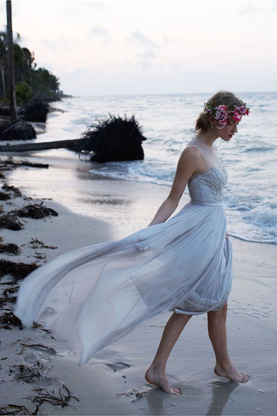 Most popular Floor-length chiffon round-neck prom dresses, Sweetheart Beach wedding Dress, WD0325