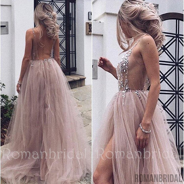 2018 Amazing Hot Sexy Beaded Open Back Tulle Split Long Evening Prom Dresses Cheap Prom Dresses, PD0487
