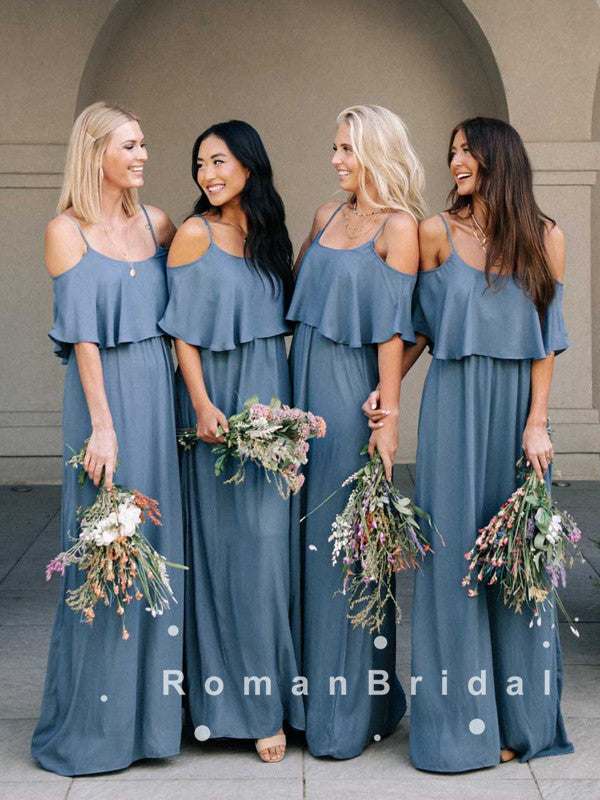 A-Line Straps Off The Shoulder Chiffon Long Bridesmaid Dresses With Ruffles,RBWG0022