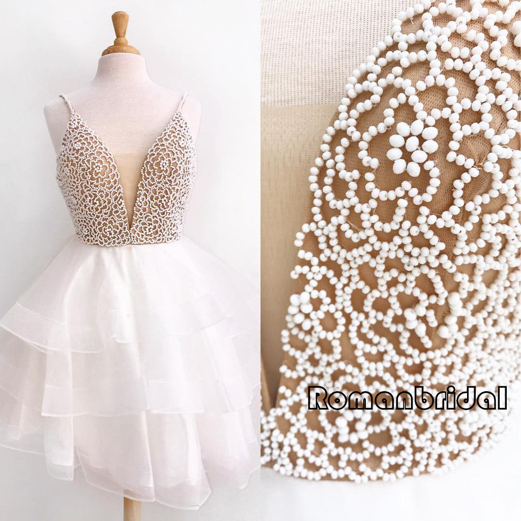 New Arrival Deep V-neck Spaghetti Strap organza white Beading pretty homecoming dresses, HD0345