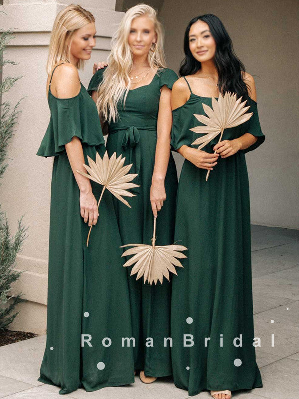 A-Line Mismatched Cheap Chiffon Long Bridesmaid Dresses Online,RBWG0023