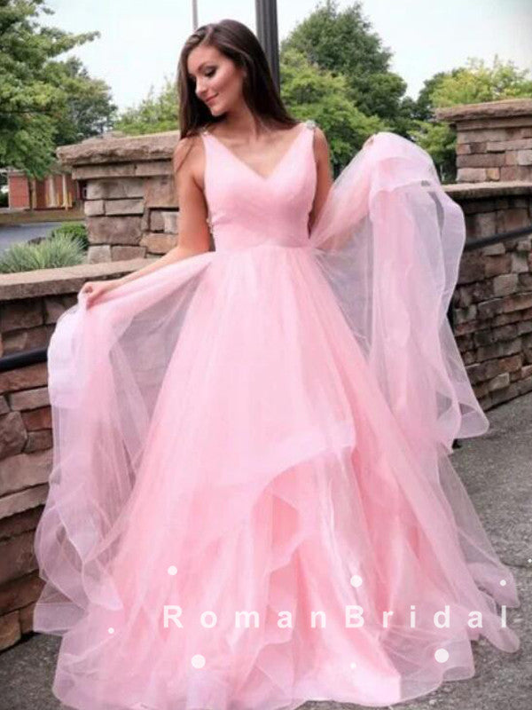 A-Line V-Neck Sleeveless Pink Tulle Cheap Long Prom Dresses,RBPD0023