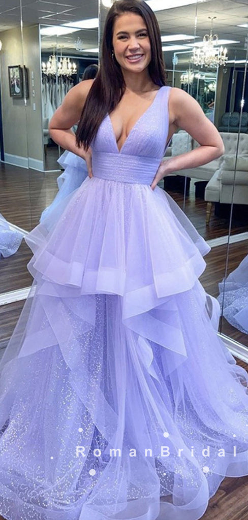 A-Line V-Neck Sleeveless Lilac Tulle Long Prom Dresses With Pleats,RBPD0025