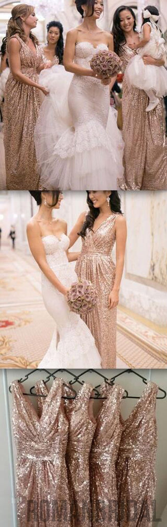 2018 Popular Cheap Sequin Long Off Shoulder V-Neck Floor-Length Bridesmaid Dresses, WG09