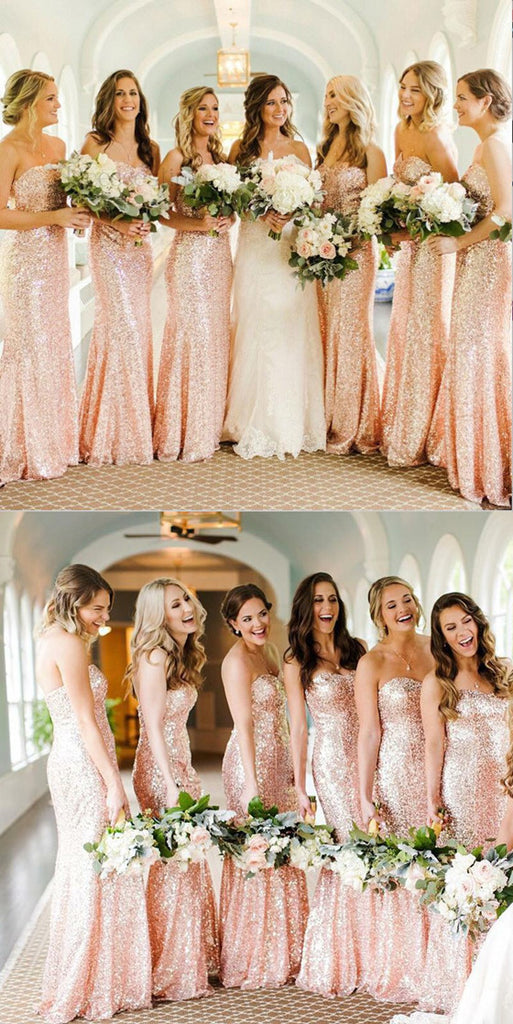 Mermaid Sparkly Newest Sweetheart Rose Gold Bridesmaid Dresses, BD0494