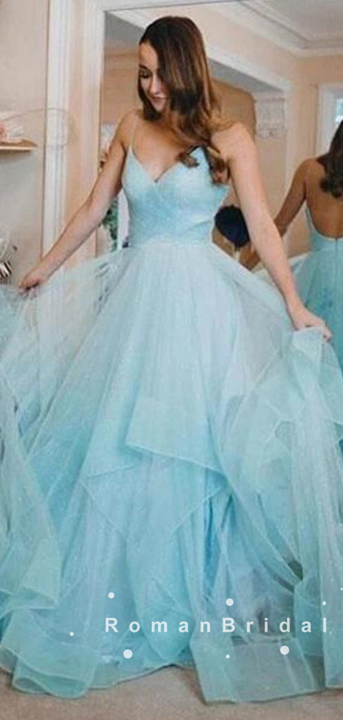A-Line V-Neck Spaghetti Straps Tulle Long Prom Dresses With Pleats,RBPD0026