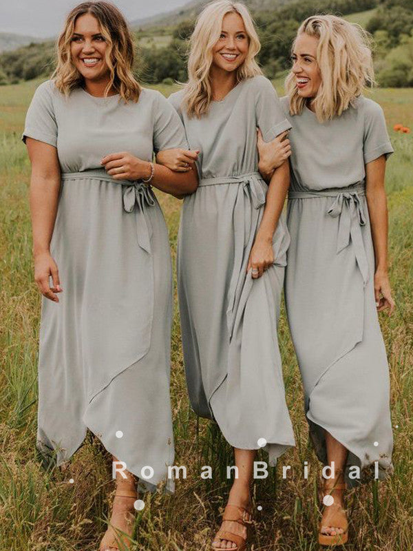 A-Line Scoop Neckline Short Sleeves Chiffon Side Slit Long Bridesmaid Dresses,RBWG0027