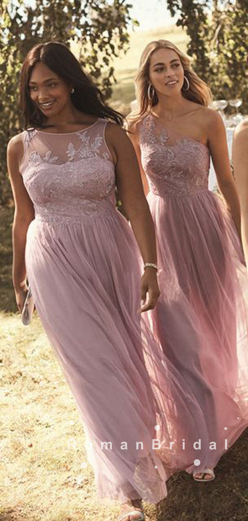 See Through A-Line Mismatched Tulle Long Bridesmaid Dresses With Lace,RBWG0028