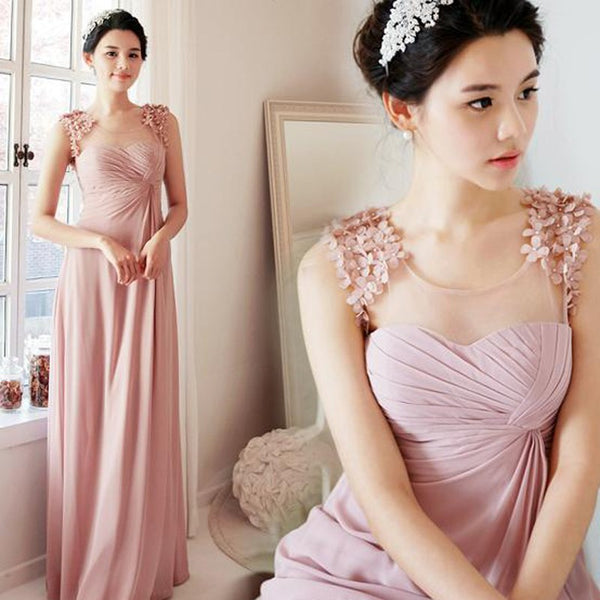 A-Line Floor-length Appliques Bridesmaid Dress With Pleats, BD0501