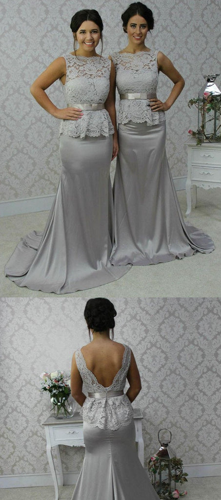 Mermaid Sliver V-back Lace Top See-though Bridesmaid Dresses, BD0590