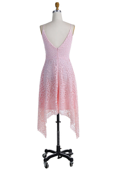 A-Line V-neck Spaghetti Straps Asymmetrical Pink Lace Bridesmaid Dress, BD0432