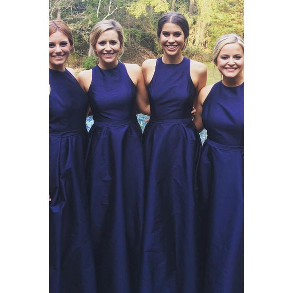 A-line Sleeveless Round Neck Simple Navy Blue Bridesmaid Dresses, BD0571