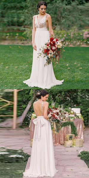 A-Line V-Neck Backless Sequins Top Chiffon Bridesmaid Dresses With Bow, BD0105