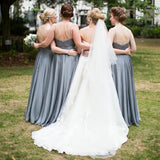 A-line Bateau Neck Lace Top Backlesss Long Bridesmaid Dresses, BD0604
