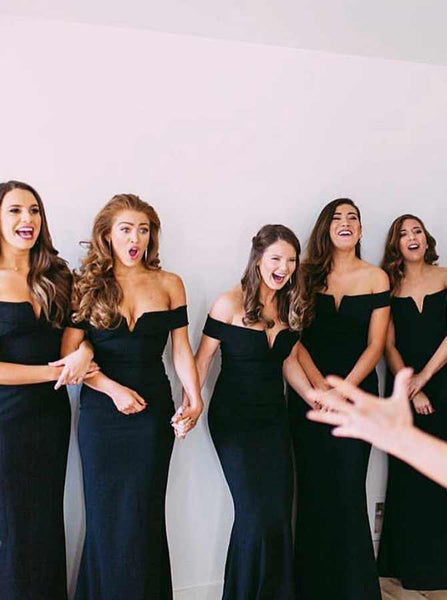 Mermaid Off-shoulder Sexy V-neck Black Long Bridesmaid Dresses, BD0591