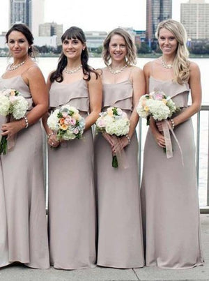 A-line Floor-length Spaghetti Straps Grey Chiffon Bridesmaid Dress with Ruffles, BD0502