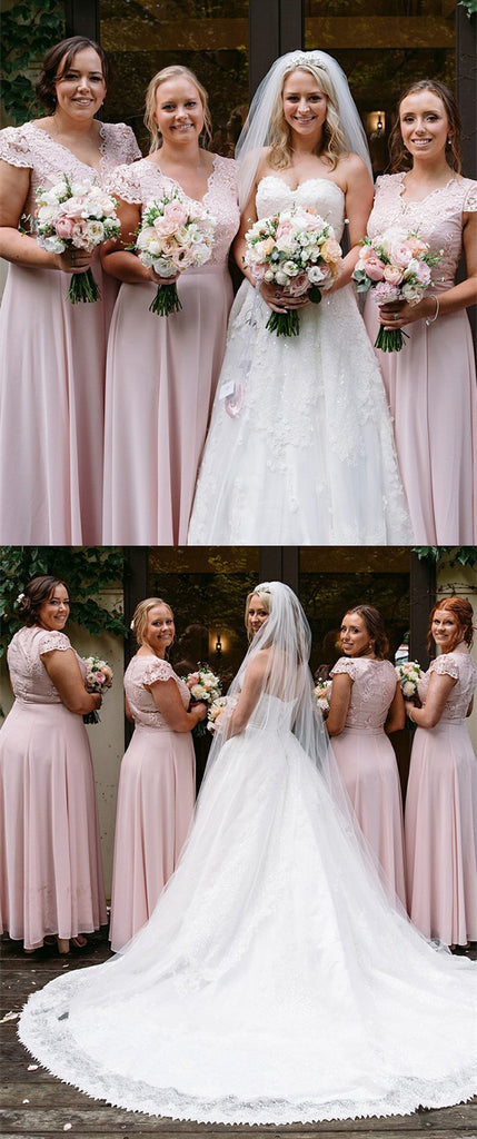 A-line Lace Top Cap Sleeves Long Pink Chiffon Bridesmaid Dresses, BD0593