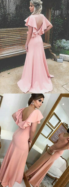 A-line Simple Split V-back Bridesmaid Dress with Ruffles, BD0537