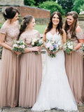 Off-shoulder Floor-length Short Sleeves Sequin Tulle Bridesmaid Dresses, BD0595