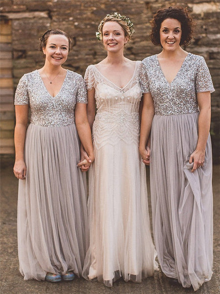 A-line V-neck Short Sleeves Sequin Top Long Tulle Bridesmaid Dresses, BD0594