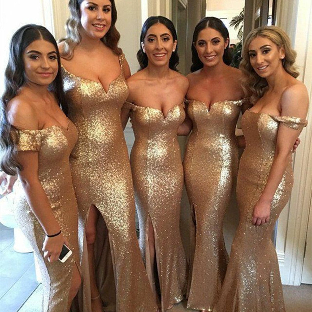 Newest Off-shoulder V-neck Golden Sequins Sexy High Split Bridesmaid Dresses, BD0533