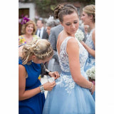 Hot Selling Scoop Neck Lace Appliques Top V-back Short Bridesmaid Dresses, BD0529