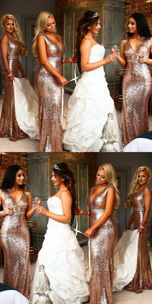 Beat Selling Floor-length Deep V-neck Rose Gold Sequins Bridesmaid Dresses, BD0525
