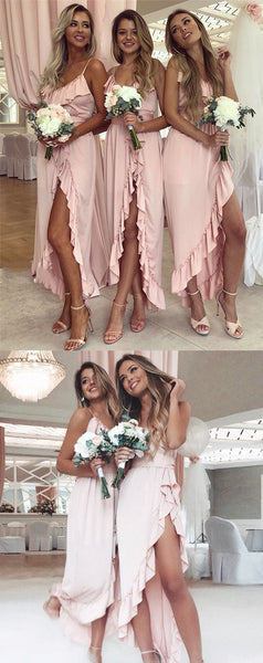 Spaghetti Straps Ruffles Sexy Bridesmaid Dresses With Split, BD0596