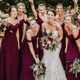 Hot Selling Floor-length Spaghetti Straps V-neck Chiffon Bridesmaid Dresses, BD0528