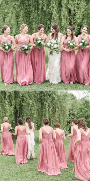 A-Line Floor-length V-Neck Lace Top Bridesmaid Dresses With Pleats, BD0106