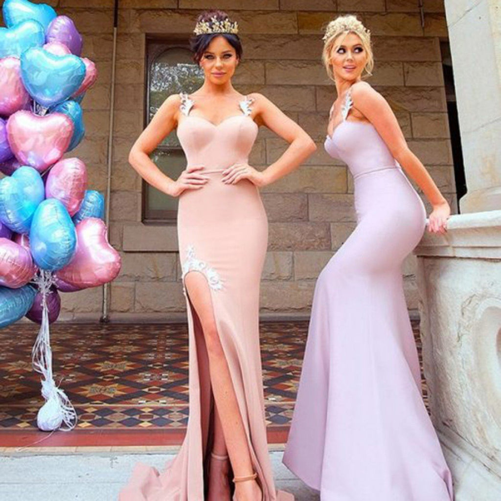Mermaid Appliques Spaghetti Straps High Split Long Bridesmaid Dresses, BD0039