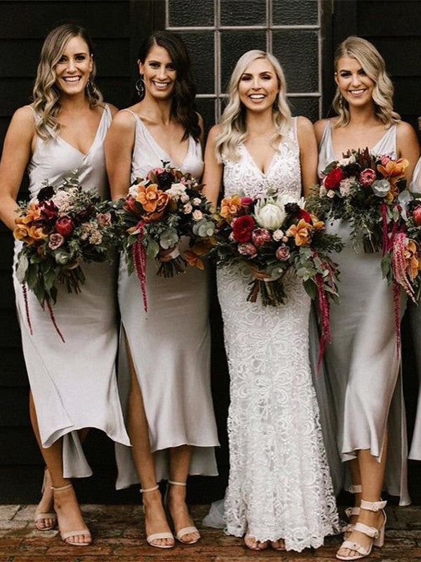 Sheath V-neck Simple Cheap Silver Short Bridesmaid Dresses With Split, BD0599