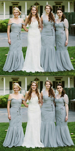 Mermaid Off-shoulder Long Tulle Bridesmaid Dresses With Pleats, BD0600