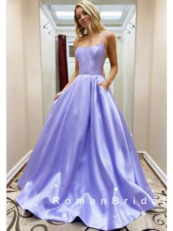 Simple A-Line Spaghetti Straps Satin Cheap Long Prom Dresses Online,RBPD0028