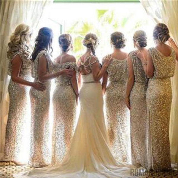 2018 Charming Popular Sparkly Bling Rose Gold Sequin Long  Bridesmaid Dress,wedding guest dress , WG29
