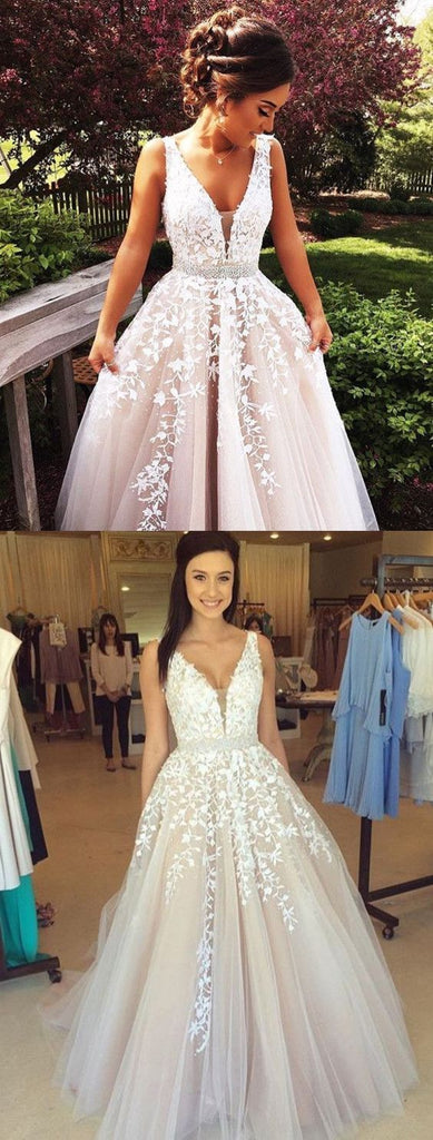 Charming A-line Floor-length V-neck White Lace Appliques Tulle Prom Dresses, PD0564