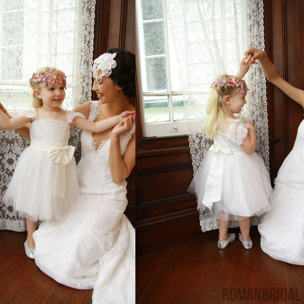 Cap Sleeve Ivory Princess A-line Lace Tulle Flower Girl Dresses With Belt, FG010