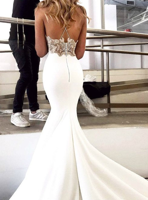 Mermaid Spaghetti Straps Lace Appliques Top Prom Dresses, PD0759