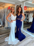 Two pieces Ivory Lace Long Prom Dresses With Split, PD0758