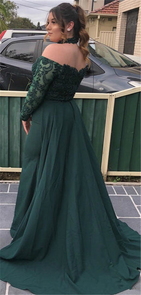 Off-shoulder Long Sleeves Green Lace Prom Dresses, PD0760