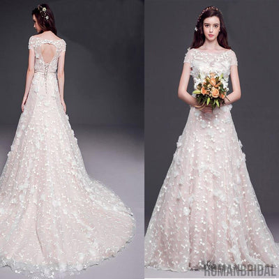 2018 Long A-line Scoop Cap Sleeve Lace Wedding Dresses, Open Back ...
