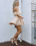 A-Line Off-Shoulder Pearl Pink Lace Tulle Short Homecoming Dresses with Ruffles, HD0382